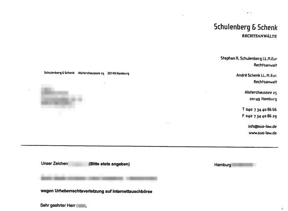 Abmahnung Schulenberg & Schenk Anwaltskanzlei Filesharing