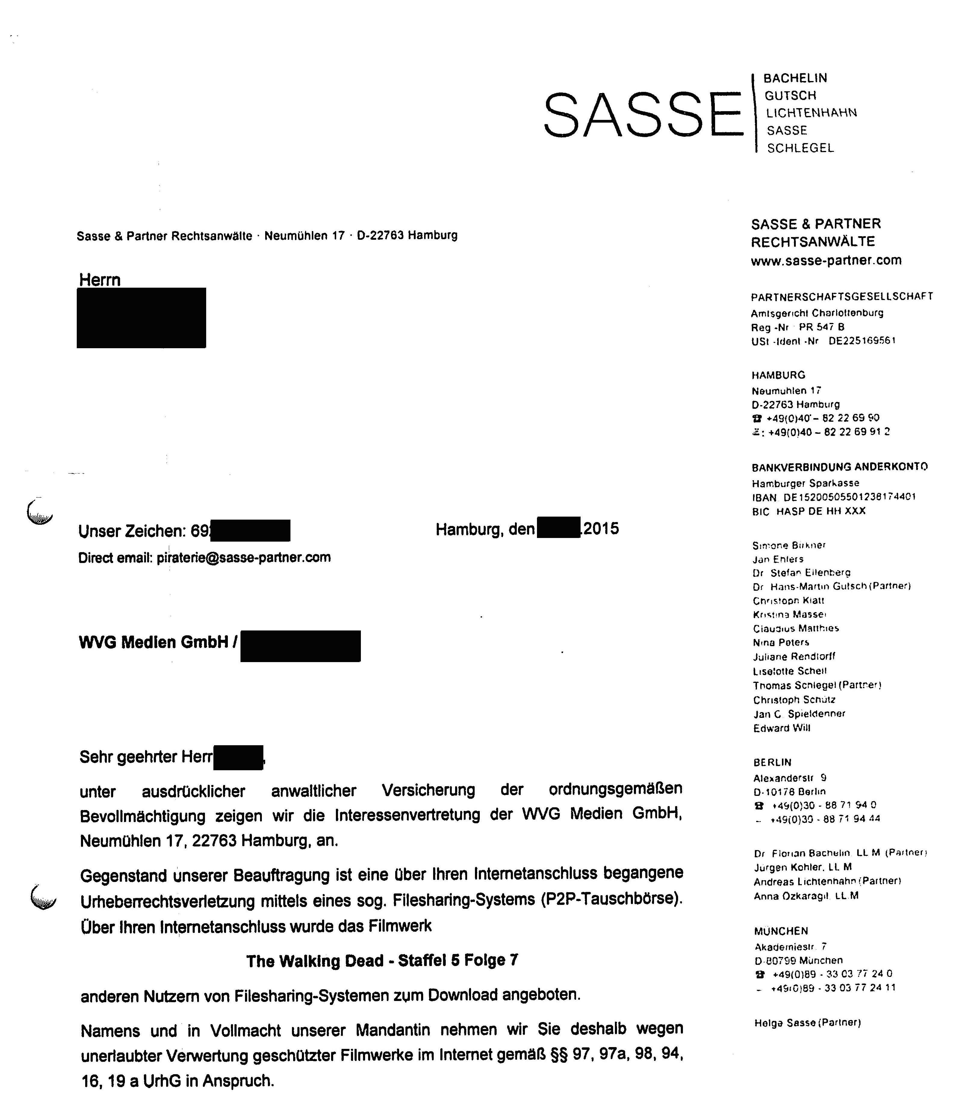 Sasse-Partner-Abmahnung