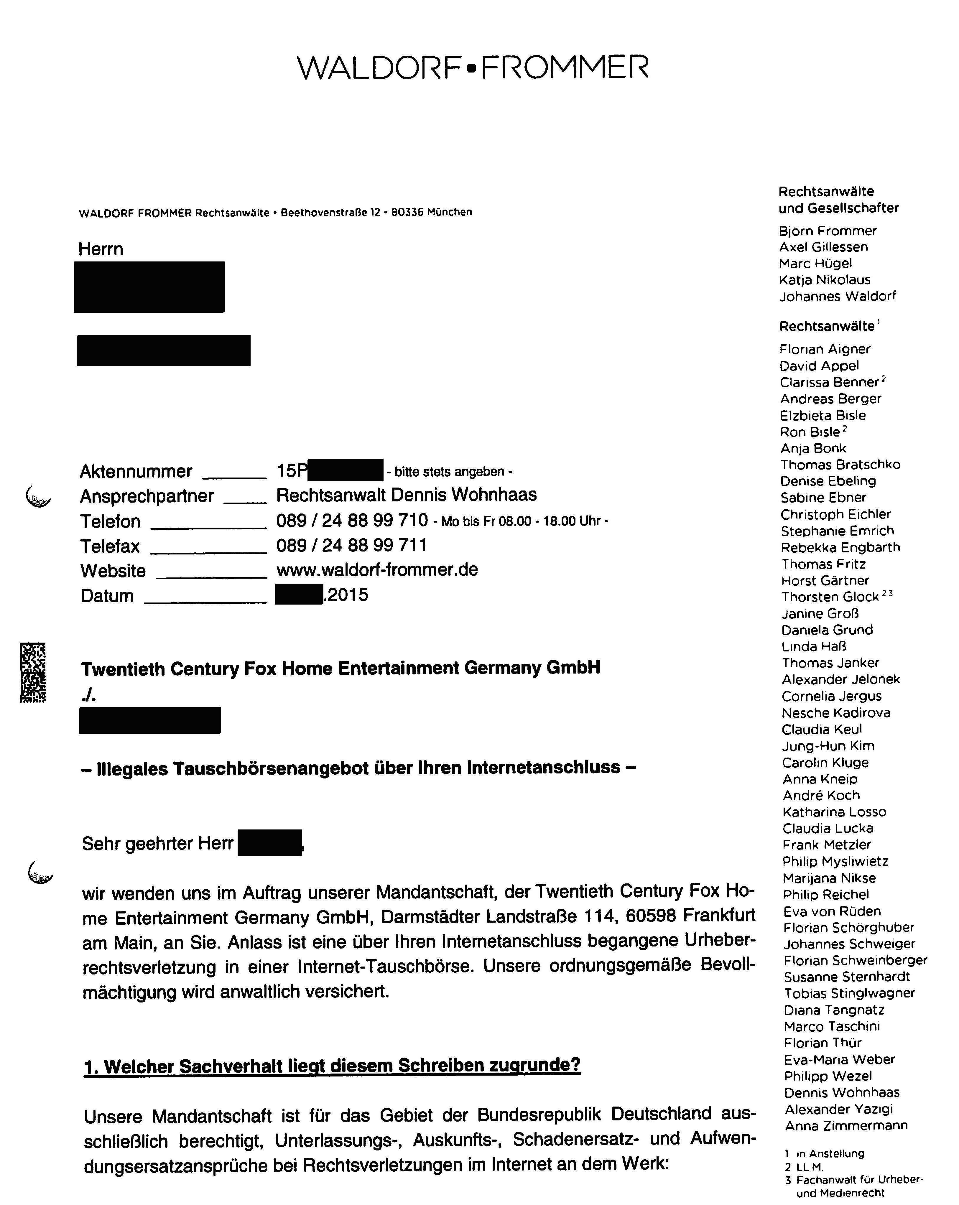 waldorf frommer abmahnung - Strafbewehrte Unterlassungserklarung Muster
